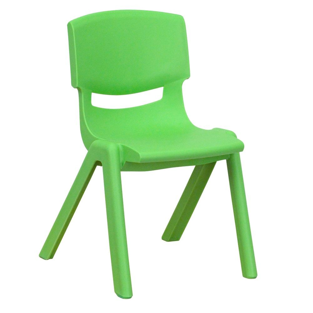 "Flash Furniture YU-YCX-001-GREEN-GG Green Plastic Stackable School Chair with 12"" Seat Height"