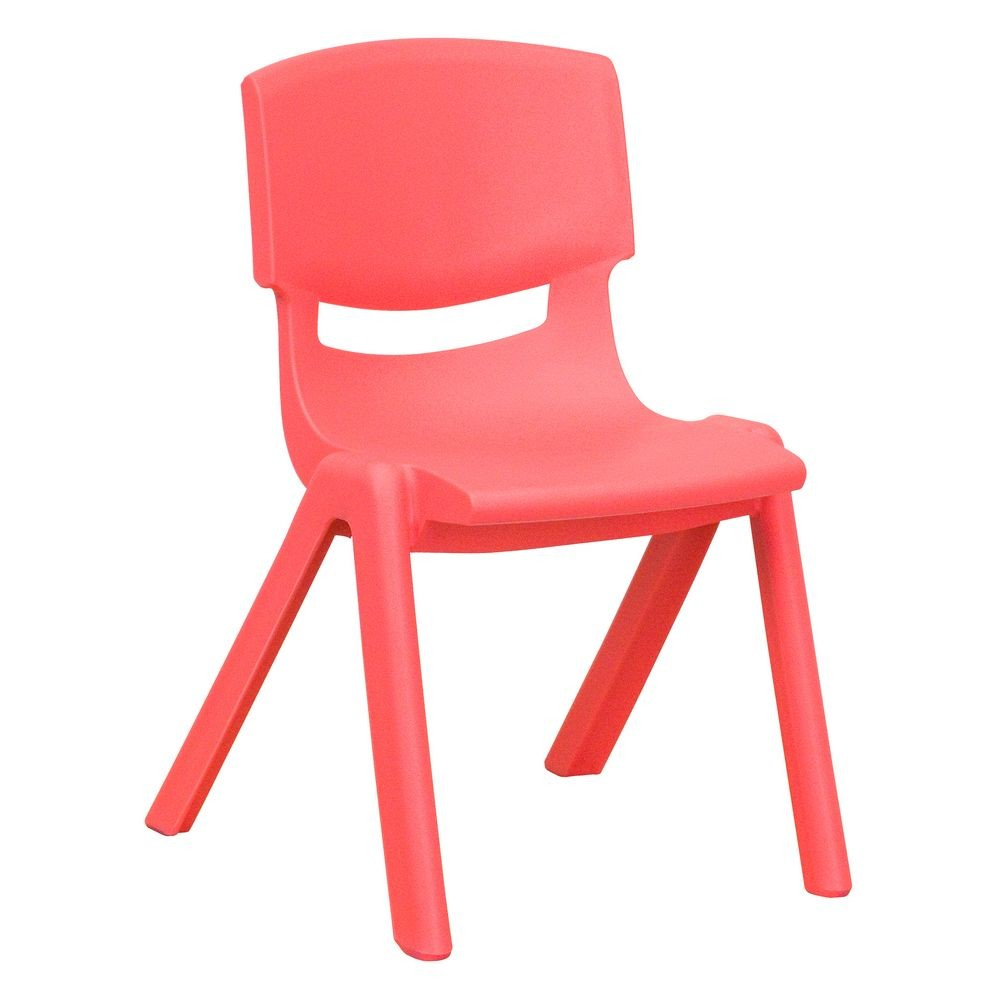 Flash Furniture YU-YCX-001-RED-GG Red Plastic Stackable School Chair with 12'' Seat Height