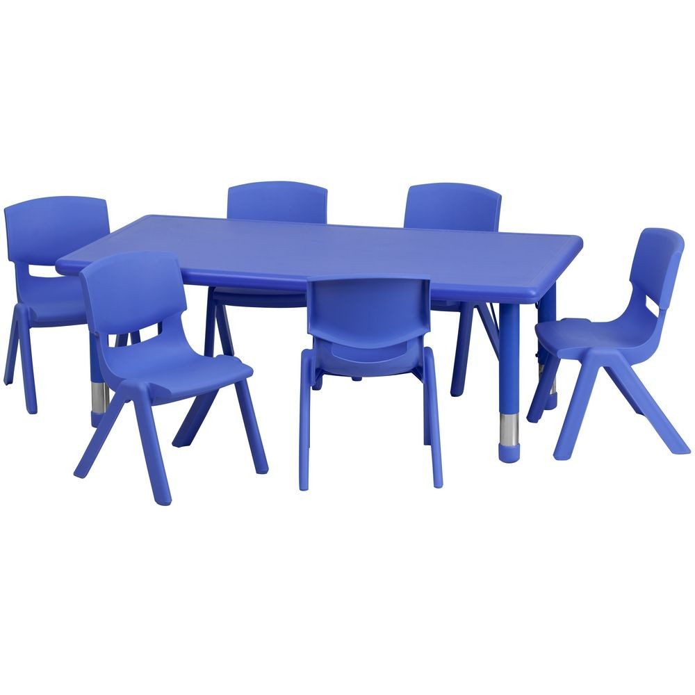 Flash Furniture YU-YCX-0013-2-RECT-TBL-BLUE-E-GG Adjustable Rectangular Blue Plastic Activity Table Set with 6 School Stack Chairs