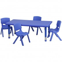 Flash Furniture YU-YCX-0013-2-RECT-TBL-BLUE-R-GG Adjustable Rectangular Blue Plastic Activity Table Set with 4 School Stack Chairs
