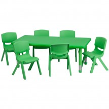 Flash Furniture YU-YCX-0013-2-RECT-TBL-GREEN-E-GG Adjustable Rectangular Green Plastic Activity Table Set with 6 School Stack Chairs