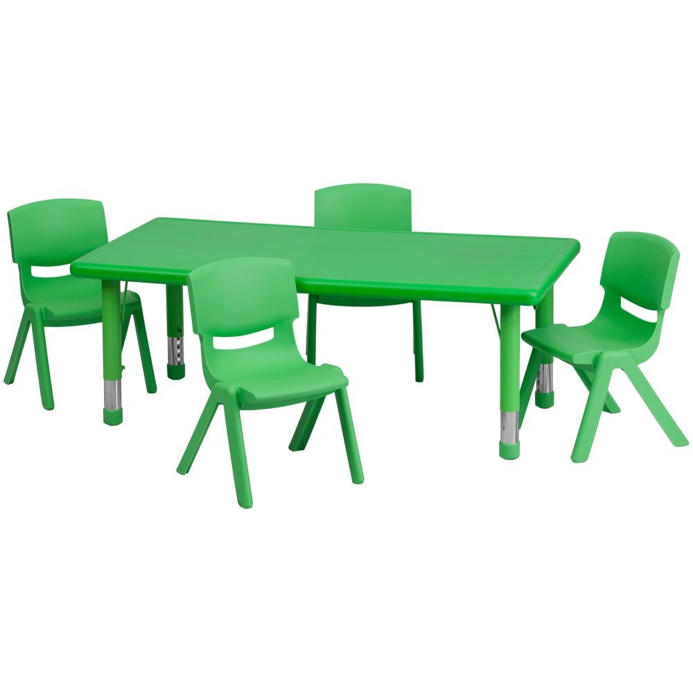 Flash Furniture YU-YCX-0013-2-RECT-TBL-GREEN-R-GG Adjustable Rectangular Green Plastic Activity Table Set with 4 School Stack Chairs