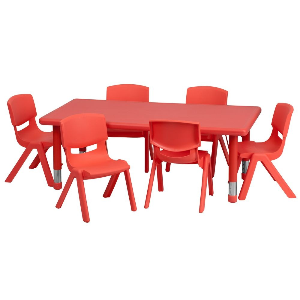 Flash Furniture YU-YCX-0013-2-RECT-TBL-RED-E-GG Adjustable Rectangular Red Plastic Activity Table Set with 6 School Stack Chairs