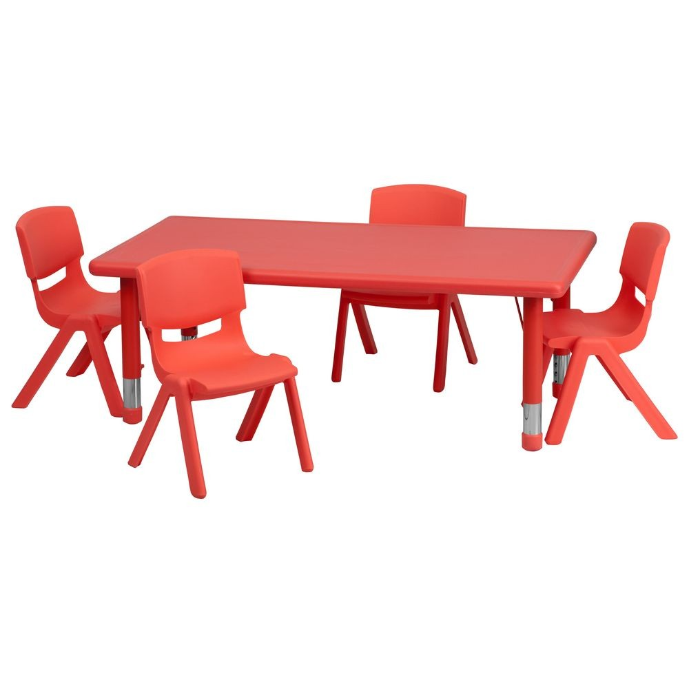 Flash Furniture YU-YCX-0013-2-RECT-TBL-RED-R-GG Adjustable Rectangular Red Plastic Activity Table Set with 4 School Stack Chairs
