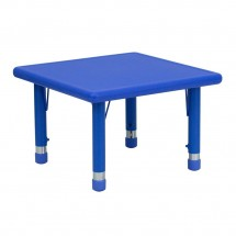 Flash Furniture YU-YCX-002-2-SQR-TBL-BLUE-GG Square Height Adjustable Blue Plastic Activity Table 24""