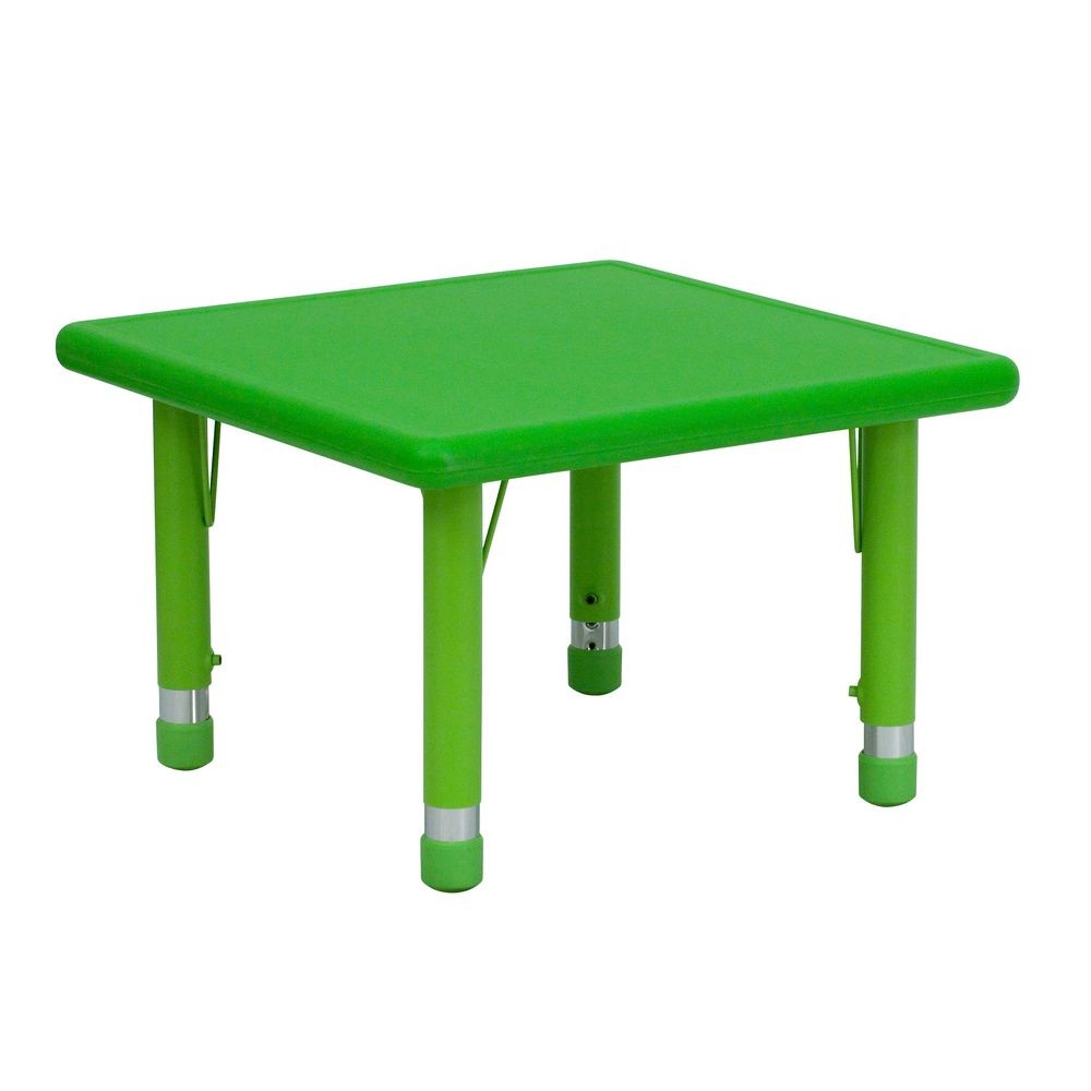 Flash Furniture YU-YCX-002-2-SQR-TBL-GREEN-GG Square Height Adjustable Green Plastic Activity Table 24""