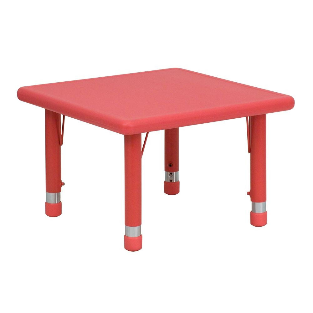 "Flash Furniture YU-YCX-002-2-SQR-TBL-RED-GG 24"" Square Height Adjustable Red Plastic Activity Table"