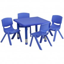 Flash Furniture YU-YCX-0023-2-SQR-TBL-BLUE-E-GG Square Adjustable Blue Plastic Activity Table Set with 4 School Stack Chairs 24""