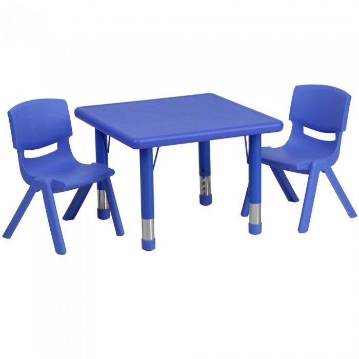 """Flash Furniture YU-YCX-0023-2-SQR-TBL-BLUE-R-GG Square Adjustable Blue Plastic Activity Table Set with 2 School Stack Chairs 24"""""""