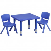 Flash Furniture YU-YCX-0023-2-SQR-TBL-BLUE-R-GG Square Adjustable Blue Plastic Activity Table Set with 2 School Stack Chairs 24""