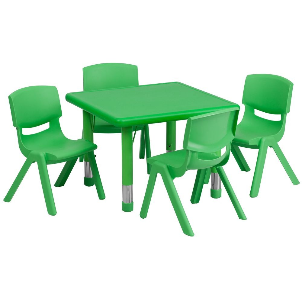 Flash Furniture YU-YCX-0023-2-SQR-TBL-GREEN-E-GG Square Adjustable Green Plastic Activity Table Set with 4 School Stack Chairs 24""