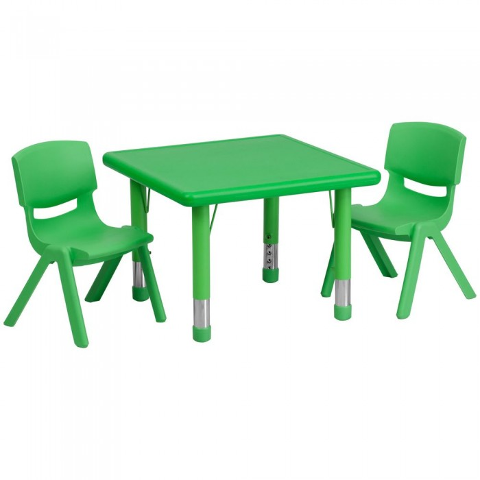 """Flash Furniture YU-YCX-0023-2-SQR-TBL-GREEN-R-GG Square Adjustable Green Plastic Activity Table Set with 2 School Stack Chairs 24"""""""