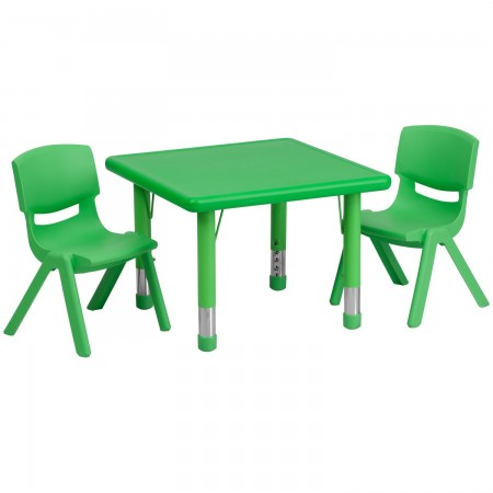 Flash Furniture YU-YCX-0023-2-SQR-TBL-GREEN-R-GG Square Adjustable Green Plastic Activity Table Set with 2 School Stack Chairs 24""