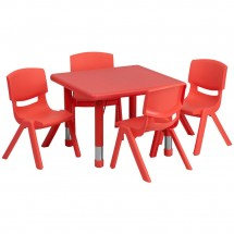 Flash Furniture YU-YCX-0023-2-SQR-TBL-RED-E-GG Square Adjustable Red Plastic Activity Table Set with 4 School Stack Chairs 24""