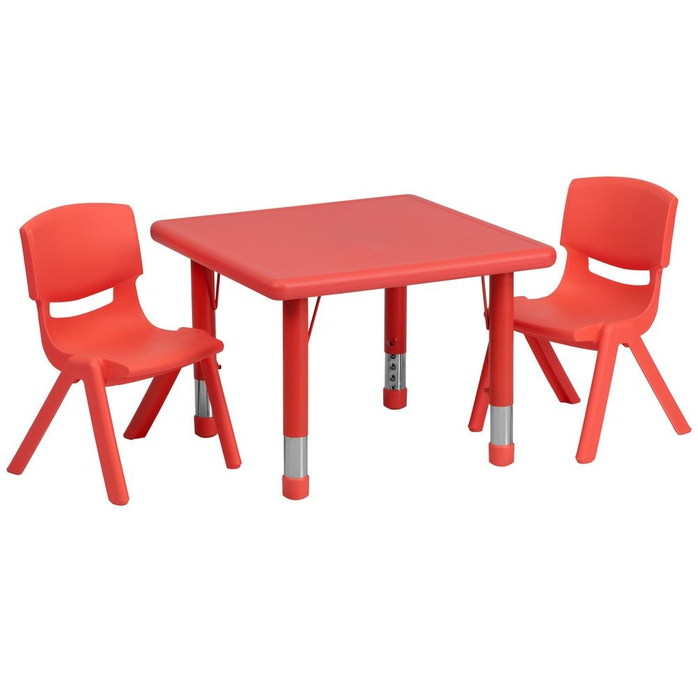 "Flash Furniture YU-YCX-0023-2-SQR-TBL-RED-R-GG Square Adjustable Red Plastic Activity Table Set 24"" with 2 School Stack Chairs"
