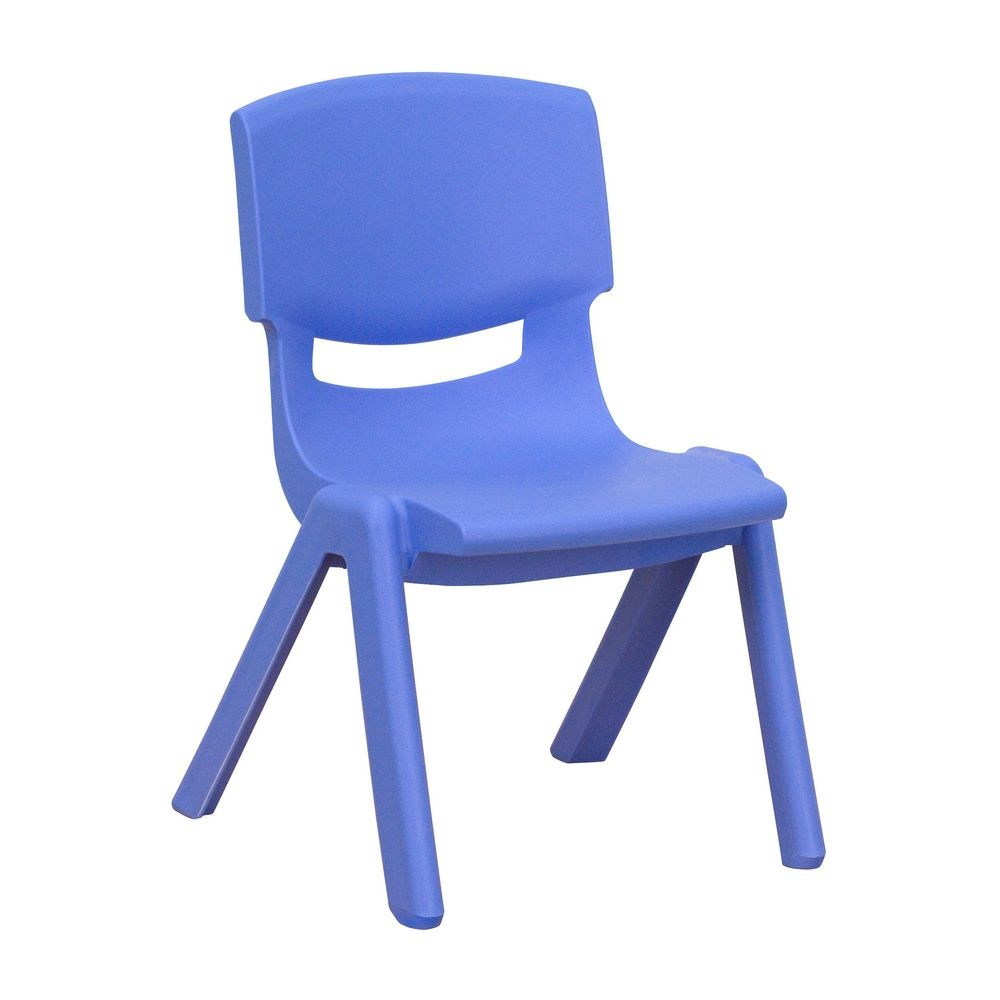 "Flash Furniture YU-YCX-003-BLUE-GG Blue Plastic Stackable School Chair with 10-1/2"" Seat Height"