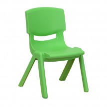 "Flash Furniture YU-YCX-003-GREEN-GG Green Plastic Stackable School Chair with 10-1/2"" Seat Height"
