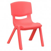 "Flash Furniture YU-YCX-003-RED-GG Red Plastic Stackable School Chair with 10-1/2"" Seat Height"