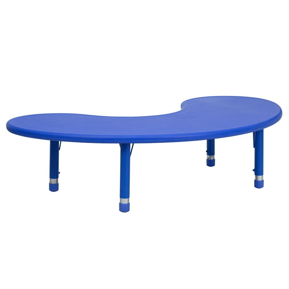 "Flash Furniture YU-YCX-004-2-MOON-TBL-BLUE-GG Height Adjustable Half-Moon Blue Plastic Activity Table 35"" x 65"""