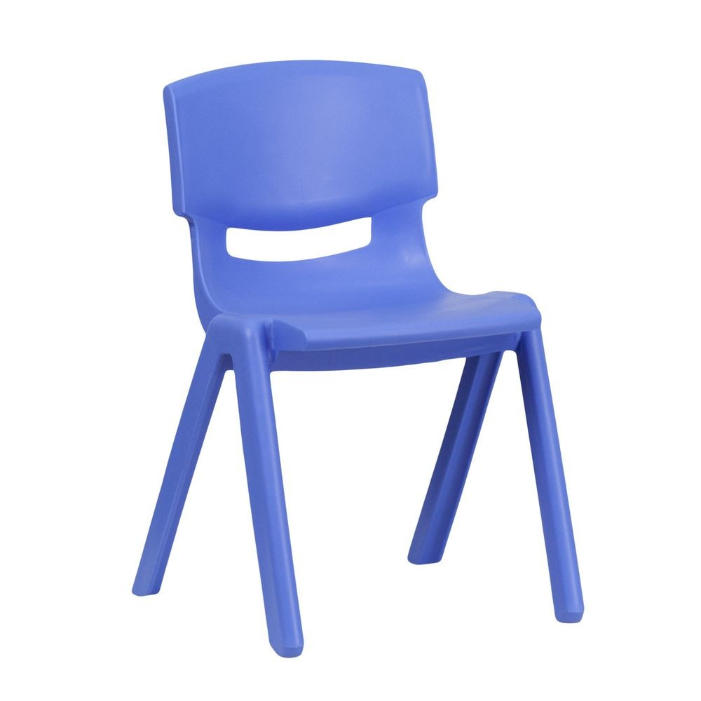 "Flash Furniture YU-YCX-004-BLUE-GG Blue Plastic Stackable School Chair with 13-1/4"" Seat Height"