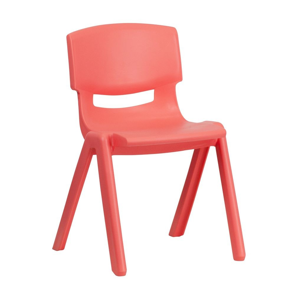"Flash Furniture YU-YCX-004-RED-GG Red Plastic Stackable School Chair with 13-1/4"" Seat Height"