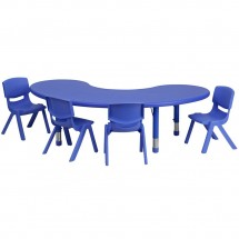 "Flash Furniture YU-YCX-0043-2-MOON-TBL-BLUE-E-GG Adjustable Half-Moon Blue Plastic Activity Table Set with 4 School Stack Chairs, 35"" x 65"""