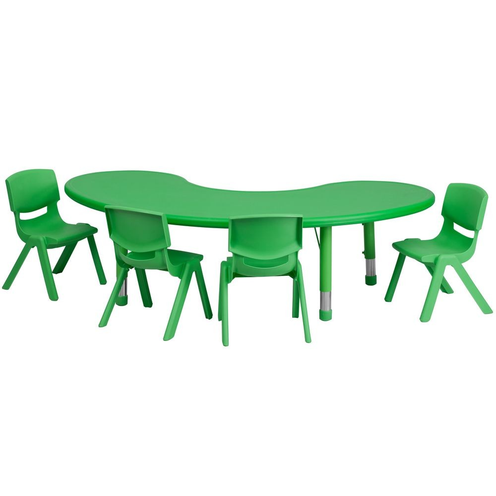 "Flash Furniture YU-YCX-0043-2-MOON-TBL-GREEN-E-GG Adjustable Half-Moon Green Plastic Activity Table Set with 4 School Stack Chairs, 35"" x 65"""