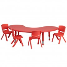 "Flash Furniture YU-YCX-0043-2-MOON-TBL-RED-E-GG Adjustable Half-Moon Red Plastic Activity Table Set with 4 School Stack Chairs, 35"" x 65"""