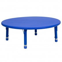 """Flash Furniture YU-YCX-005-2-ROUND-TBL-BLUE-GG Round Height Adjustable Blue Plastic Activity Table 45"""""""