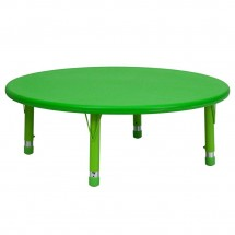 Flash Furniture YU-YCX-005-2-ROUND-TBL-GREEN-GG Round Height Adjustable Green Plastic Activity Table 45""