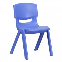 "Flash Furniture YU-YCX-005-BLUE-GG Blue Plastic Stackable School Chair with 15-1/2"" Seat Height"