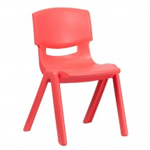 "Flash Furniture YU-YCX-005-RED-GG Red Plastic Stackable School Chair with 15-1/2"" Seat Height"