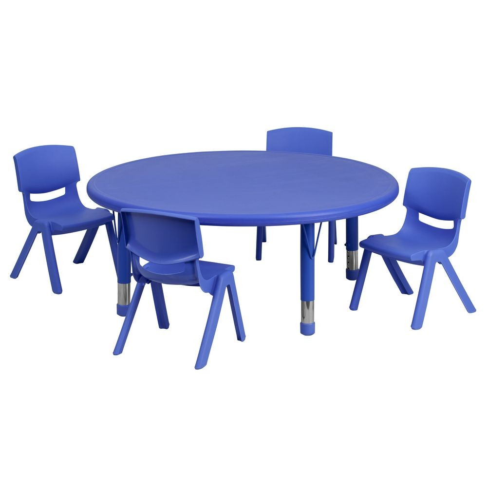 Flash Furniture YU-YCX-0053-2-ROUND-TBL-BLUE-E-GG Round Adjustable Blue Plastic Activity Table Set with 4 School Stack Chairs 45""