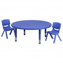 Flash Furniture YU-YCX-0053-2-ROUND-TBL-BLUE-R-GG Round Adjustable Blue Plastic Activity Table Set with 2 School Stack Chairs 45""
