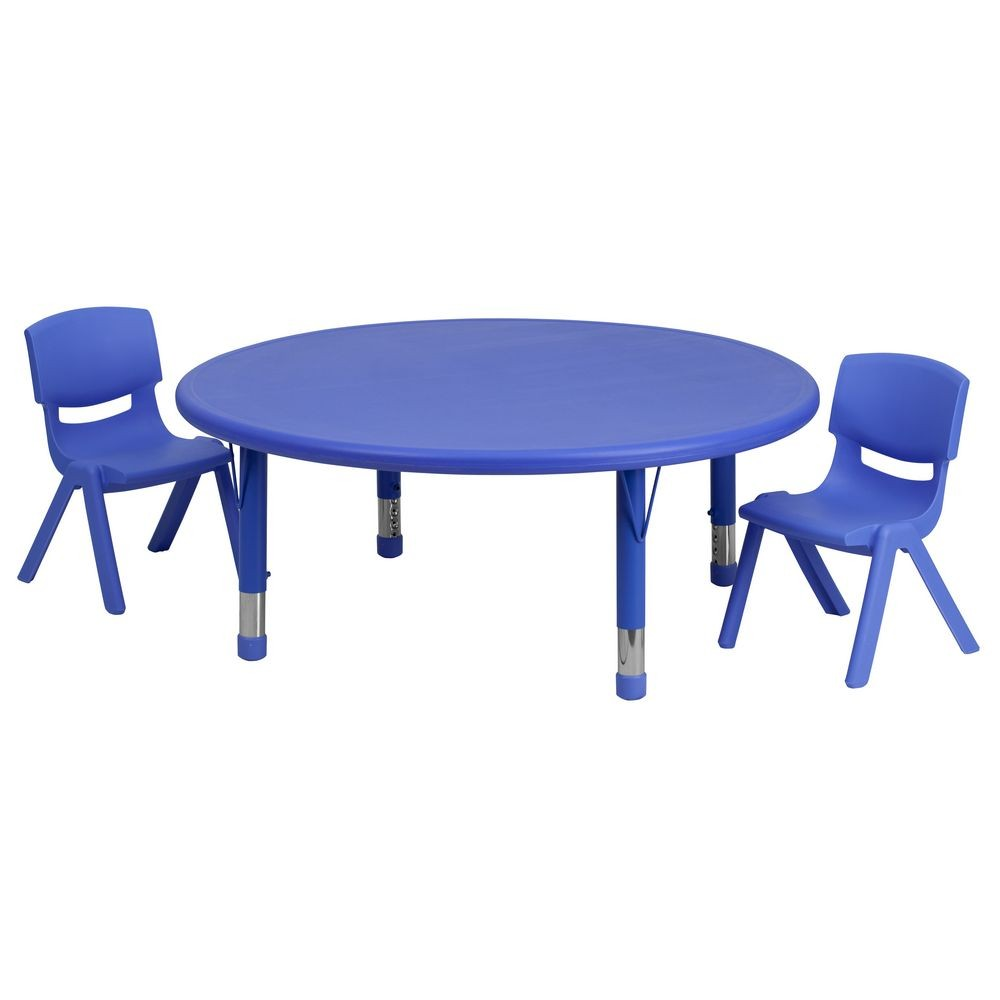 Flash Furniture YU-YCX-0053-2-ROUND-TBL-BLUE-R-GG 45'' Round Adjustable Blue Plastic Activity Table Set, 2 School Stack Chairs