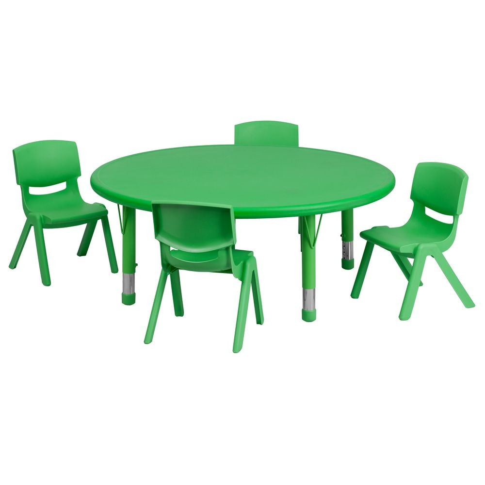 "Flash Furniture YU-YCX-0053-2-ROUND-TBL-GREEN-E-GG Round Adjustable Green Plastic Activity Table Set 45"" with 4 School Stack Chairs"