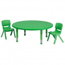 Flash Furniture YU-YCX-0053-2-ROUND-TBL-GREEN-R-GG Round Adjustable Green Plastic Activity Table Set with 2 School Stack Chairs 45""