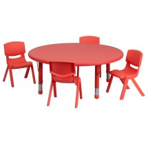 Flash Furniture YU-YCX-0053-2-ROUND-TBL-RED-E-GG Round Adjustable Red Plastic Activity Table Set with 4 School Stack Chairs 45""