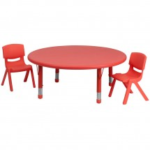 Flash Furniture YU-YCX-0053-2-ROUND-TBL-RED-R-GG Round Adjustable Red Plastic Activity Table Set with 2 School Stack Chairs 45""