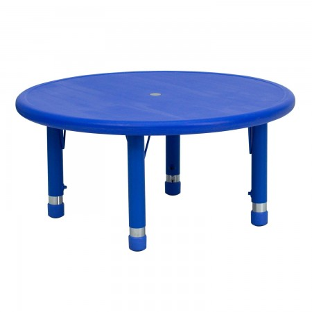 Flash Furniture YU-YCX-007-2-ROUND-TBL-BLUE-GG Round Height Adjustable Blue Plastic Activity Table 33""