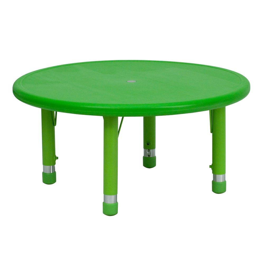 Flash Furniture YU-YCX-007-2-ROUND-TBL-GREEN-GG Round Height Adjustable Green Plastic Activity Table 33""