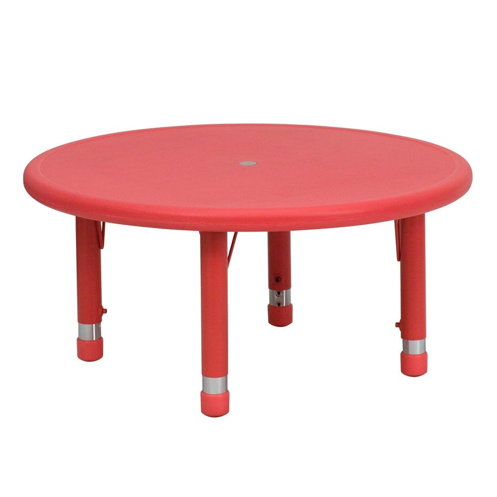 Flash Furniture YU-YCX-007-2-ROUND-TBL-RED-GG Round Height Adjustable Red Plastic Activity Table 33""