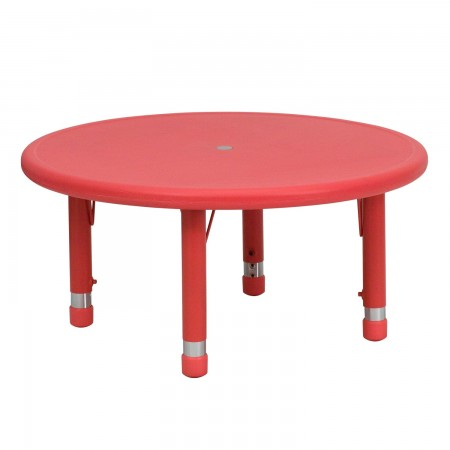 """Flash Furniture YU-YCX-007-2-ROUND-TBL-RED-GG Round Height Adjustable Red Plastic Activity Table 33"""""""
