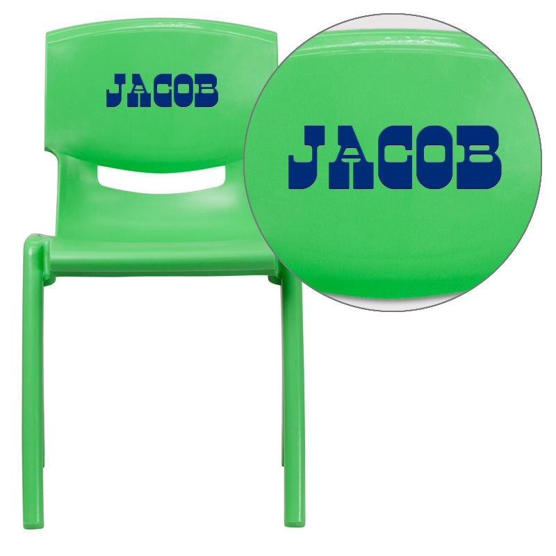 Flash Furniture YU-YCX-007-GREEN-GG Green Plastic Stackable School Chair with 18'' Seat Height