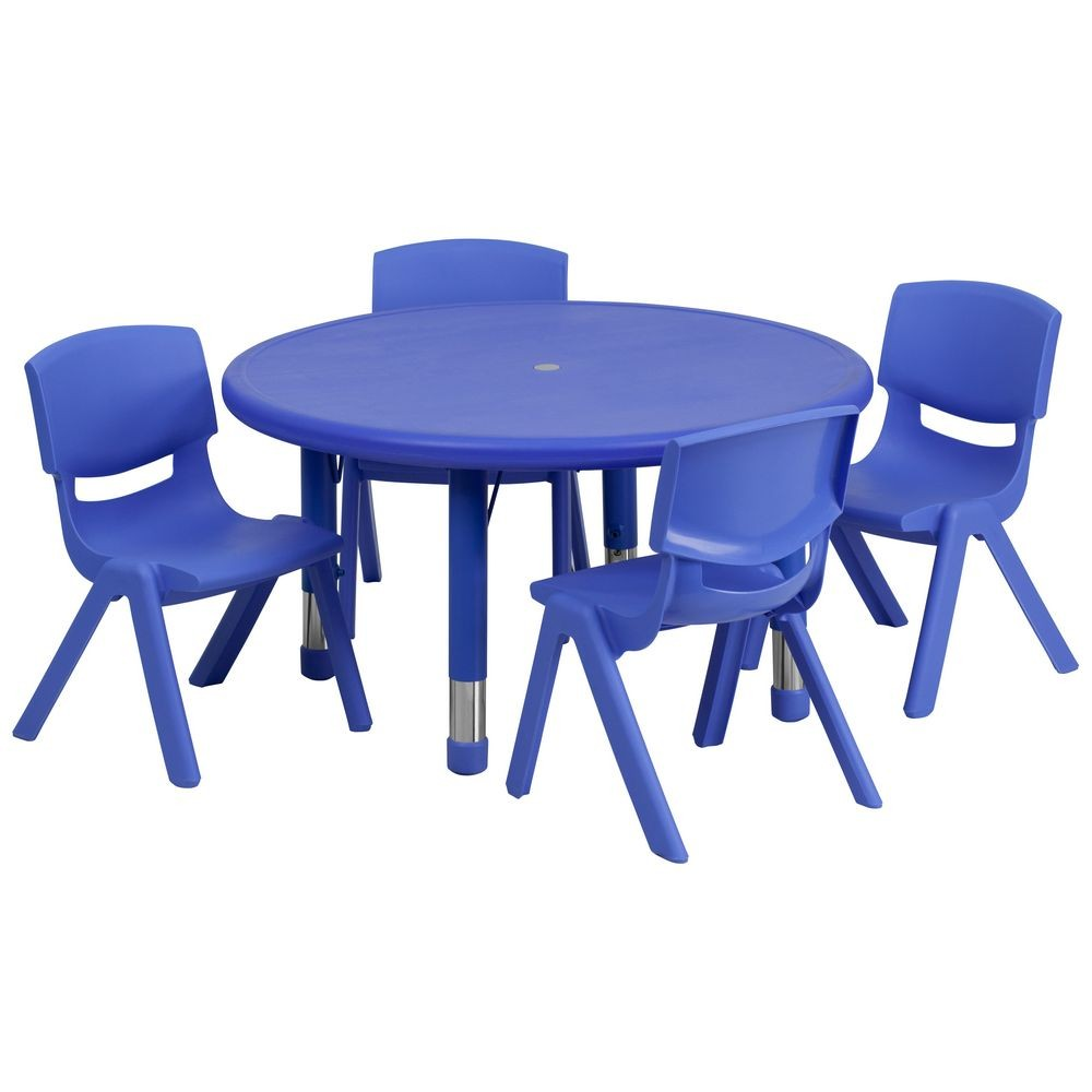 Flash Furniture YU-YCX-0073-2-ROUND-TBL-BLUE-E-GG Round Adjustable Blue Plastic Activity Table Set with 4 School Stack Chairs 33""