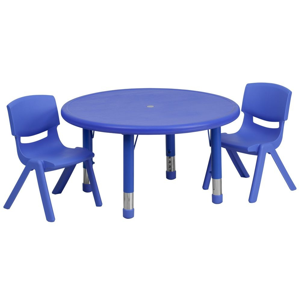 Flash Furniture YU-YCX-0073-2-ROUND-TBL-BLUE-R-GG Round Adjustable Blue Plastic Activity Table Set with 2 School Stack Chairs 33""