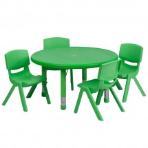 Flash Furniture YU-YCX-0073-2-ROUND-TBL-GREEN-E-GG Round Adjustable Green Plastic Activity Table Set with 4 School Stack Chairs 33""