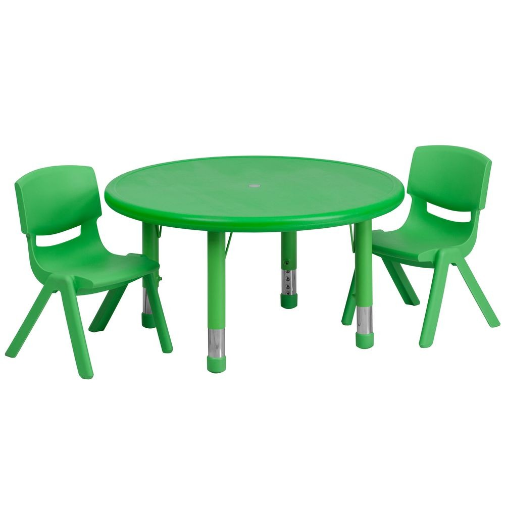 Flash Furniture YU-YCX-0073-2-ROUND-TBL-GREEN-R-GG 33'' Round Adjustable Green Plastic Activity Table Set, 2 School Stack Chairs