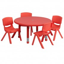 "Flash Furniture YU-YCX-0073-2-ROUND-TBL-RED-E-GG Round Adjustable Red Plastic Activity Table Set 33"" with 4 School Stack Chairs"
