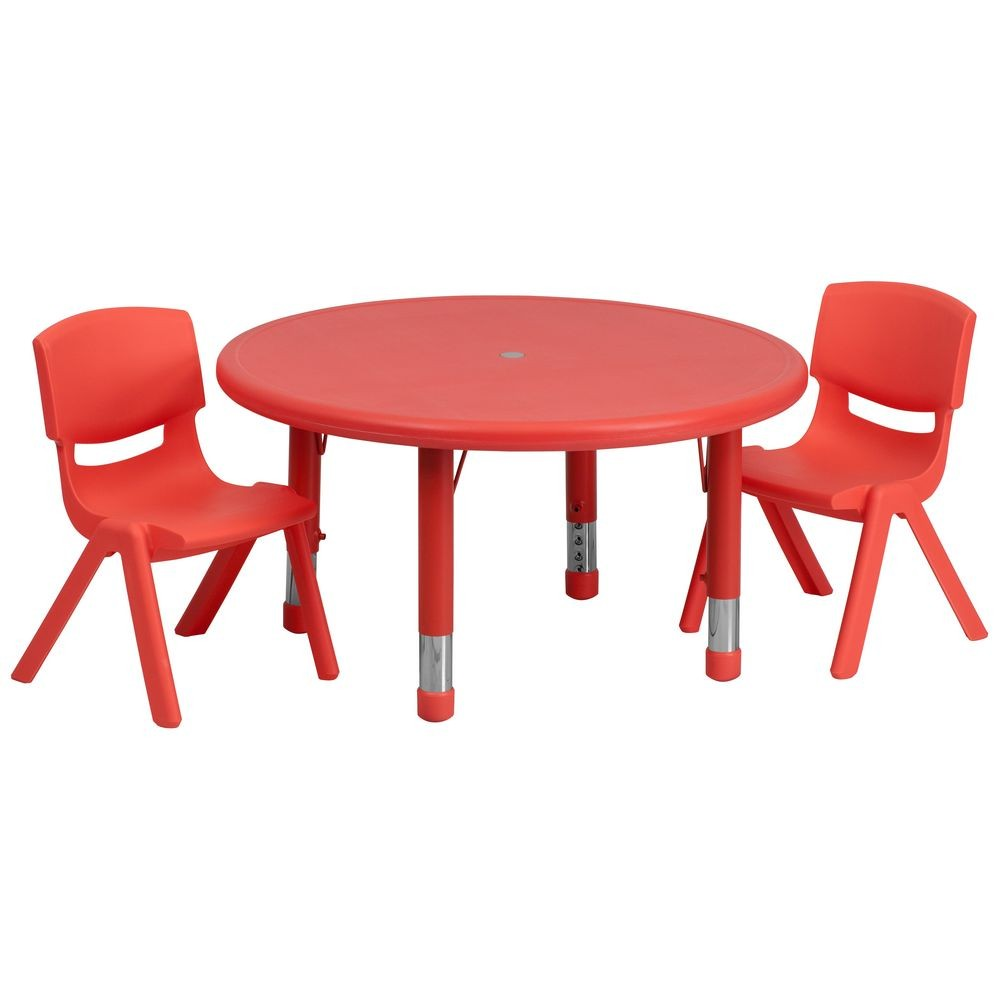 Flash Furniture YU-YCX-0073-2-ROUND-TBL-RED-R-GG Round Adjustable Red Plastic Activity Table Set with 2 School Stack Chairs 33""
